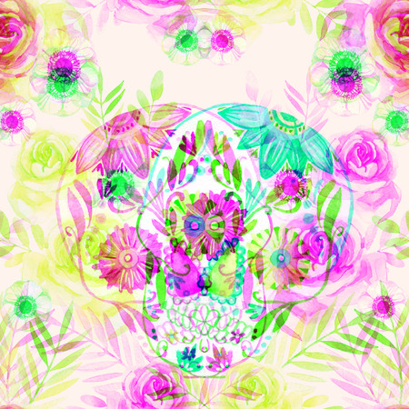 glitch: Watercolor mexican sugar skull among the flowers seamless pattern. Day of the dead holiday background. Hand painted illustration with double color exposure glitch effect