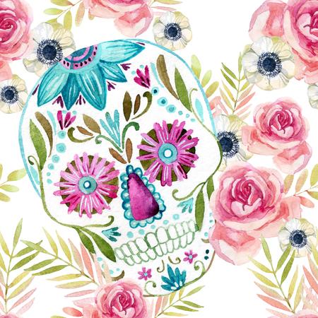 花のシームレス パターンの中で水彩画メキシコ砂糖の頭蓋骨。デッド休日背景の日。手描きのカラフルなイラスト 写真素材