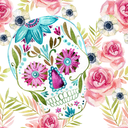 Cráneo mexicano del azúcar de la acuarela entre el modelo inconsútil de las flores. Día del fondo muerto del día de fiesta. Pintado a mano ilustración de colores Foto de archivo - 81851905