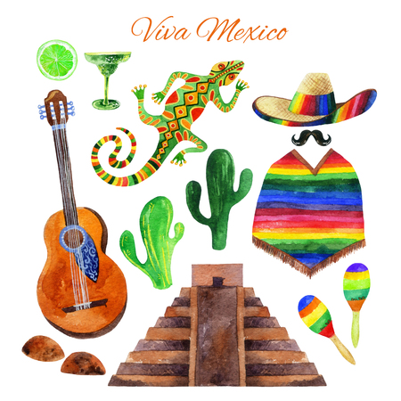 Viva Mexico watercolor set isolated on white background. Hand painted illustration Stock Photo