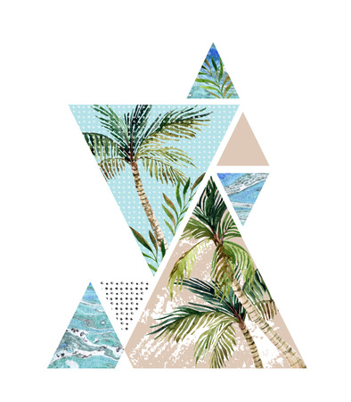 Abstract summer background. Triangles with palm tree, leaf and marble grunge textures. Geometric design for t-shirt, flyer or poster in retro vintage 80s, 90s. Hand painted summer beach illustration