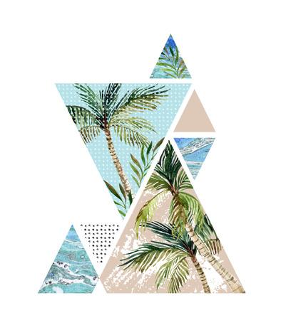 Fondo abstracto del verano. Triángulos con las texturas del grunge de la palmera, de la hoja y del mármol. Diseño geométrico para la camiseta, el aviador o el cartel en el vintage retro 80s, 90s. Pintado a mano verano ilustración playa Foto de archivo - 81851968