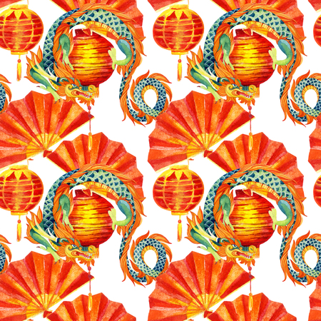 Chinese Dragon watercolor seamless pattern. Traditional new year festival background. Watercolour hand painted illustration in asian style