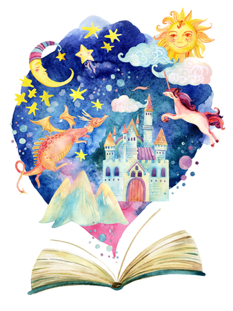 Watercolor open book with magic world on cloud. The whole fairy tale world in one book. Starry sky, moon and sun, magic castle, flying dragon and unicorn. Hand painted book illustration for educational childish design