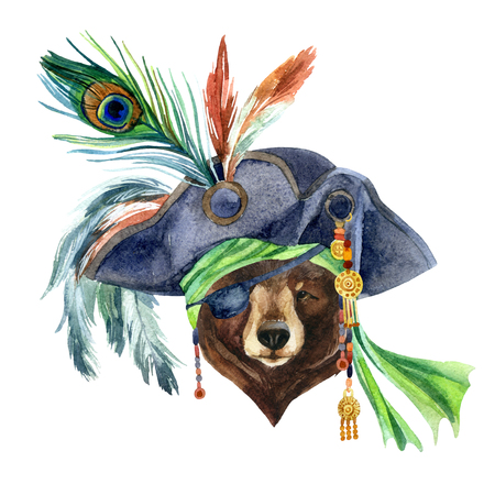 Watercolor bear in a pirate bandana and a hat with feathers. Portrait of the bear as a pirate. Hand painted illustration.
