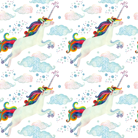 Watercolor fairy tale collection with flying unicorn, rainbow, magic clouds and rain on white background. Hand painted fairy tale elements for kids, children design Stock Photo