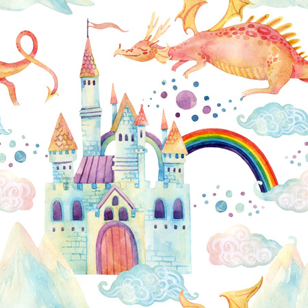 Watercolor fairy tale seamless pattern with cute dragon, magic castle, little princess crown, mountains and fairy clouds on white background. Hand painted illustration for kids, children design Imagens