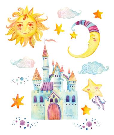 Colección de cuento de hadas de acuarela con dragón lindo, castillo mágico, corona de princesita, montañas y nubes de hadas aisladas sobre fondo blanco. Elementos pintados a mano para niños, diseño infantil Foto de archivo - 82314191