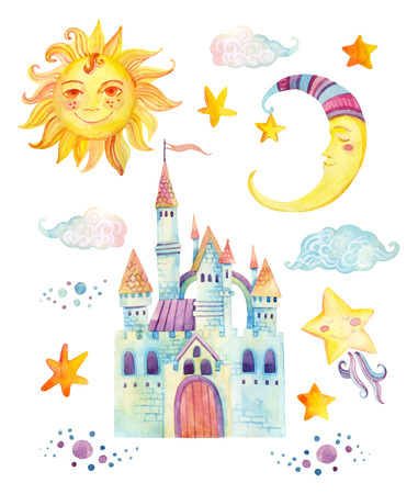 Watercolor fairy tale collection with cute dragon, magic castle, little princess crown, mountains and fairy clouds isolated on white background. Hand painted elements for kids, children design Stock Photo