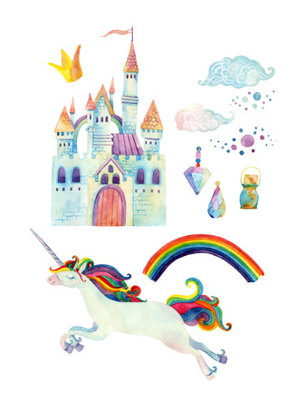 Watercolor fairy tale collection with unicorn, rainbow, castle, magic gemstones and fairy clouds isolated on white background. Hand painted elements for kids, children design