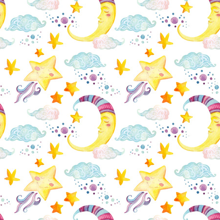 Watercolor fairy tale seamless pattern with magic sun, moon, cute little star and fairy clouds on white background. Hand painted illustration for kids, children design Stock Photo