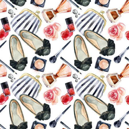 Watercolor womens beauty seamless pattern. Fashion chic beauty background. Cosmetics and clothes background. Hand painted illustration for girlie design.