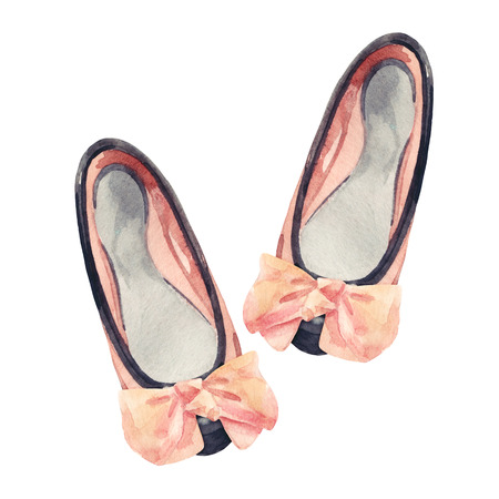 Watercolor bow flat shoes isolated on white background. Summer flat pumps shoes painting. Two toned leather pumps with bow. Hand painted fashion art illustration with paper texture.
