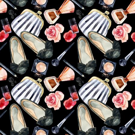 水彩画の女性美のシームレスなパターン。ファッションのシックな美しさの背景。化粧品や服の背景。手描きのガーリー デザインのイラスト。 写真素材 - 83765626