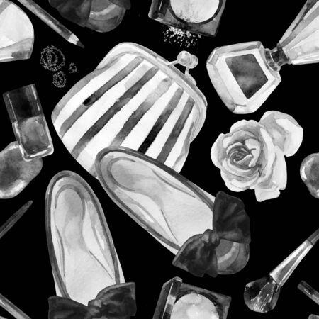 Aquarel womens schoonheid naadloze patroon. Mode chique schoonheid achtergrond. Cosmetica en kleding achtergrond. Handgeschilderde illustratie voor girlie ontwerp. Stockfoto