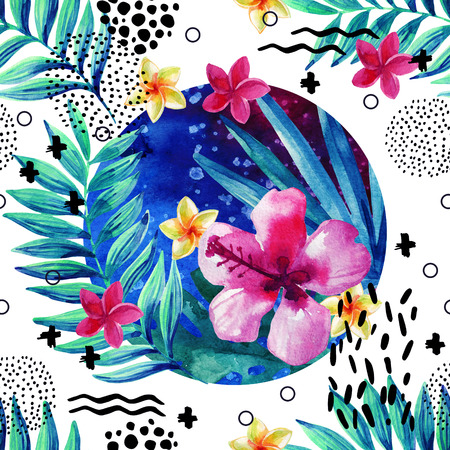 Abstract tropical summer seamless pattern in minimal style. Watercolor exotic flowers, palm leaves, grunge textures, doodles. Water color background with 80s or 90s elements. Hand painted illustration