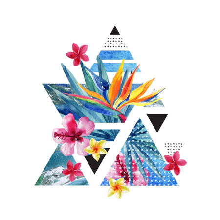 Abstract summer geometric poster design. Triangles with watercolor tropical flowers, palm leaves, marble, grunge textures, doodles. Water color exotic background. Hand painted minimal illustration
