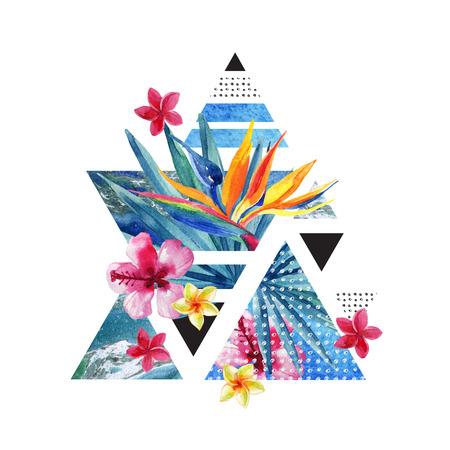 Diseño geométrico del cartel del verano abstracto. Triángulos con acuarela flores tropicales, hojas de palma, mármol, grunge texturas, garabatos. Fondo de color exótico de agua. Ilustración minimalista pintada a mano Foto de archivo - 82528391