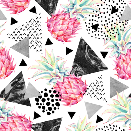 Watercolor pineapple and textured triangles seamless pattern. Summer background with hand drawn ink textures and exotic fruit art. Watercolour abstract illustration on white