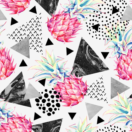 Watercolor pineapple and textured triangles seamless pattern. Summer background with hand drawn ink textures and exotic fruit art. Watercolour abstract illustration