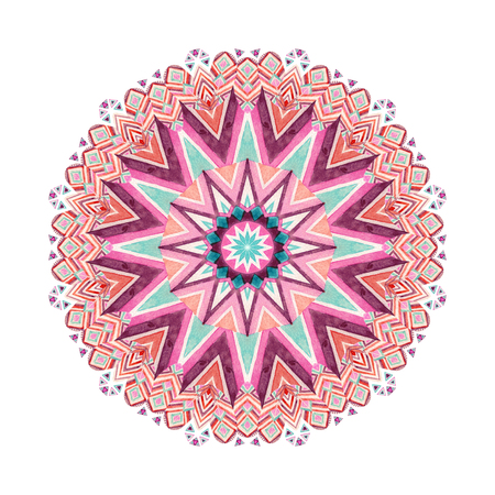 Watercolor ethnic ornate feathers abstract mandala. Lace pattern with tribal feathers and geometric pattern isolated on white background. Hand painted art illustration for boho, authentic design