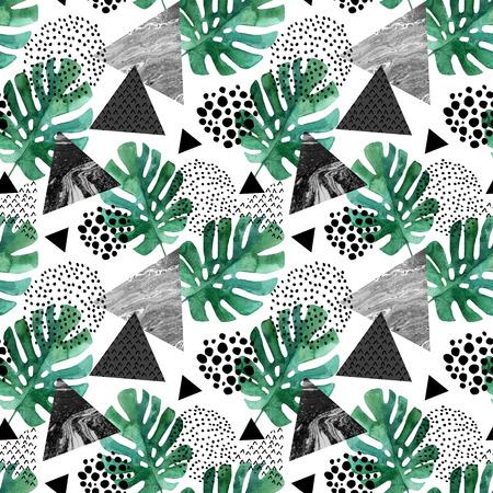abstract seamless pattern avec des feuilles aquarelles tropicales et des bords texturés . triangle avec des éléments de grunge de diamant. fond géométrique . art de 90 couleurs de style pop dessinés à la main illustration