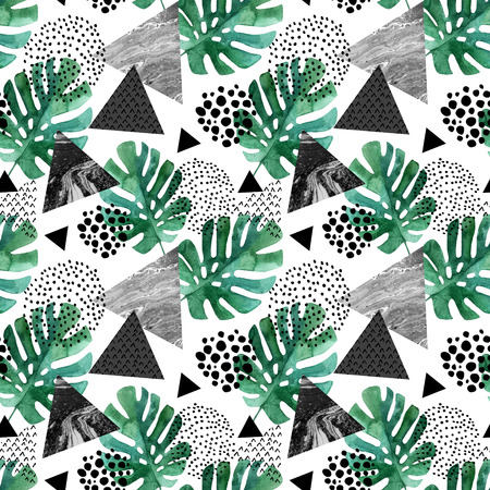 Abstract seamless pattern with watercolor tropical leaves and textured triangles. Triangle with marble grunge textures. Geometric background in 80s 90s pop art style. Hand drawn summer illustration