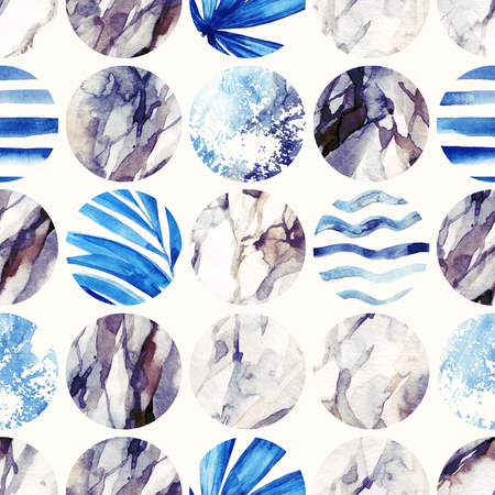 Abstract geometric background. Watercolor circle seamless pattern. Circles with palm leaves, waves, stripes and water color marble, grained, grunge, paper textures. Hand painted summer illustration Banco de Imagens