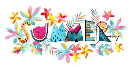 Aquarel exotische zomer achtergrond. Handgeschilderde zomer typografie op achtergrond met tropische bloemen en bladeren in moderne decoratieve stijl. Water kleur levendige illustratie