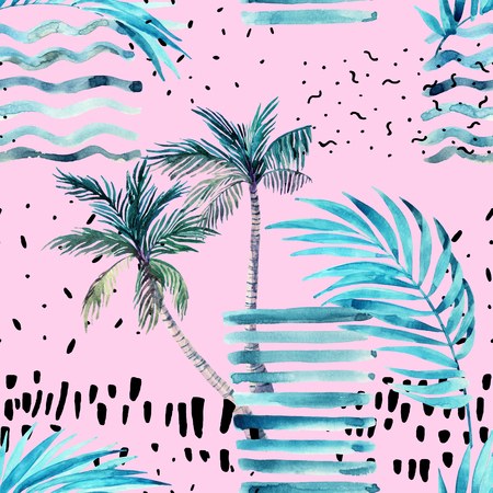 Abstract summer seamless pattern. Watercolor palm tree, leaves, grunge textures, doodles, brush strokes. Water color background in minimalistic style. Hand painted tropical illustration on pink
