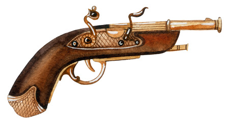 Watercolor flintlock pistol. Hand painted illustration.