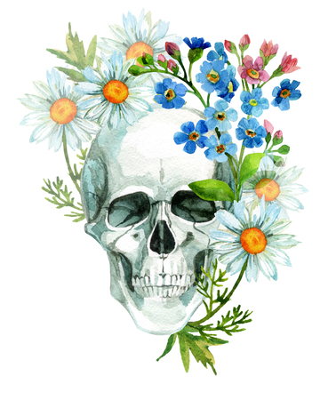 heavy: Watercolor human skull in flowers. Hand painted illustration Stock Photo