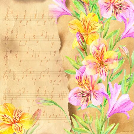Watercolor floral card. Garden ialstroemeria flowers and buds on vintage background with music notes. Hand painted illustration