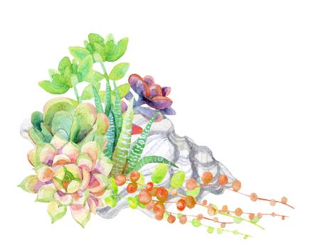 Tarjeta de acuarela suculentas. Ilustración de trama pintada a mano Foto de archivo - 83957097