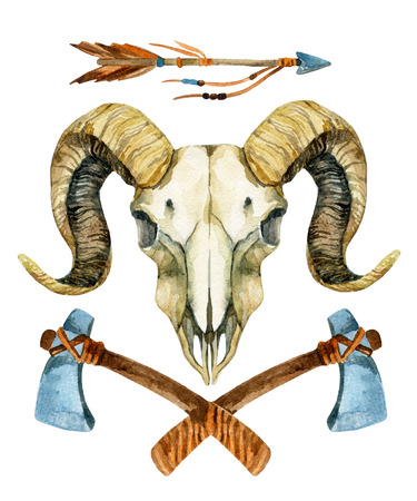 Ram skull. Sheep skull with tomahawk and arrow isolated on white background. Hand painted illustration Stock Photo