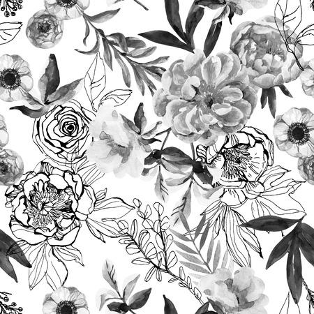Aquarell Und Tinte Kritzeln Blumen, Blätter, Abstrakten Hintergrund ...