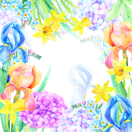 Spring background. Watercolor floral card. Greeting card with blooming flowers. Hand painted illustration