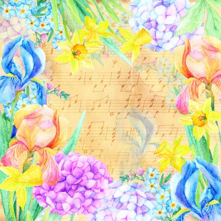 Watercolor floral card. Garden irises, hydrangea, forget-me-not and daffodil flowers on vintage background with notes. Hand painted illustration Stock Photo