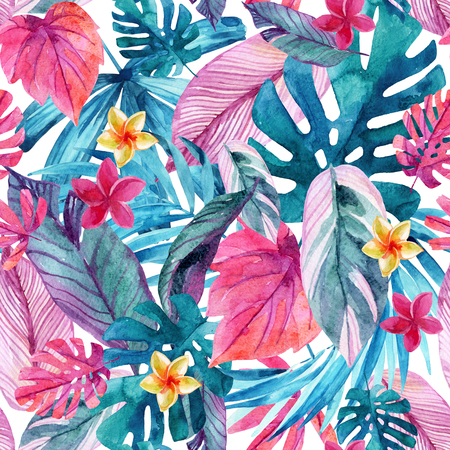 Watercolor exotic leaves and flowers background. Water color tropical floral painting seamless pattern. Hand painted colorful natural illustration for modern design