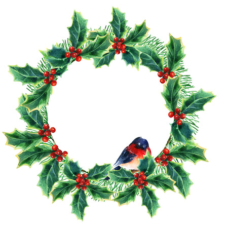 watercolor Christmas wreath with winterberries, pine branches, holly plant and bullfinch. Hand painted illustration
