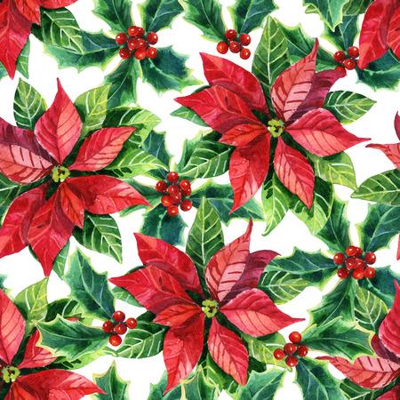 Christmas poinsettia seamless pattern, watercolor flower 版權商用圖片