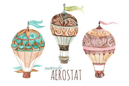 Aerostato conjunto de la vendimia. establece la acuarela globo de aire caliente. ilustraciones pintadas a mano aisladas sobre fondo blanco Foto de archivo - 84786391