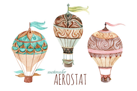 Aerostat vintage set. Watercolor hot air balloon set. Hand painted illustrations isolated on white background