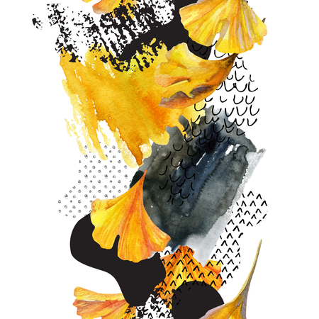 squiggle: Abstract watercolor seamless pattern in autumn colors. Drawing of ginkgo leaves, ink doodle, grunge, water color paper textures. Floral background for fall design. Hand painted illustration Stock Photo