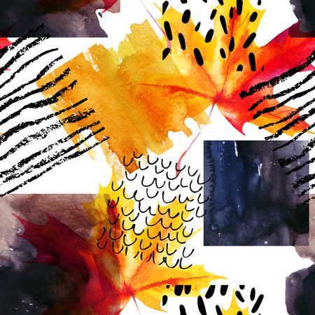 squiggle: Abstract seamless pattern with watercolor squares and autumn colored maple leaf. Drawing of doodle, grunge, paper textured geometrical shapes background for fall design. Hand painted illustration Stock Photo