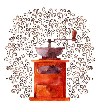 Watercolor illustration with coffee grinder on a lace background Stock Photo