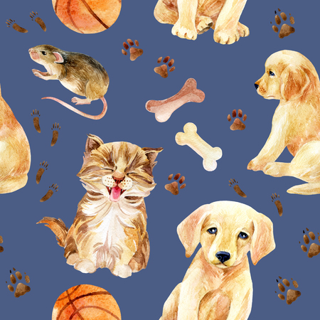Kitten, puppy and mouse seamless pattern. Cute cat, dog and mouse with their footprints and toys. Hand painted watercolor illustration.