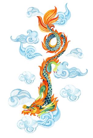 中国のドラゴン。ドラゴンの伝統的なシンボルです。水彩の手描きのイラスト。