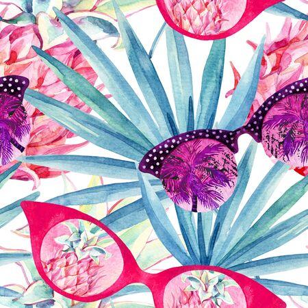 Resumen de patrones sin fisuras de verano. Gafas de sol con palmera, abanico de hojas de palma y piñas. Fondo de gafas de sol en estilo retro vintage 80 o 90. Ilustración de playa pintada a mano Foto de archivo - 84868638