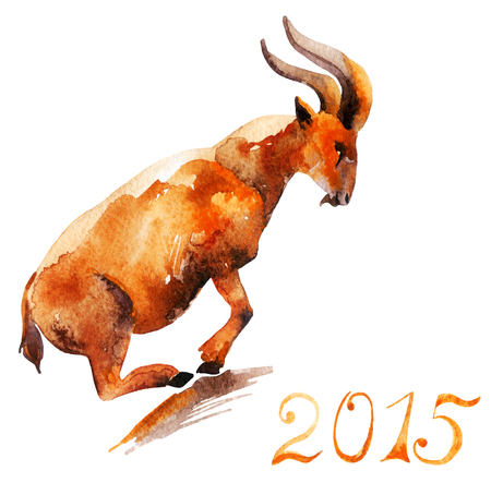 Watercolor sketch of mountain goat. Chinese astrological sign. New Year 2015. Stock Photo